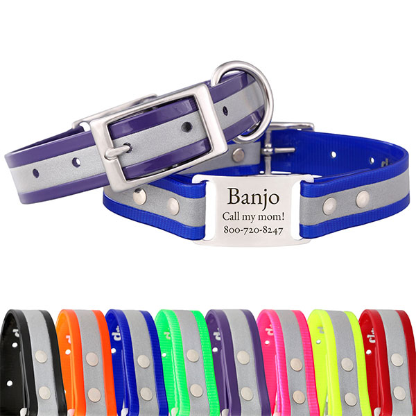 dogIDs makes reflective dog collars, dog leashes, and dog couplers from BioThane coated webbing.