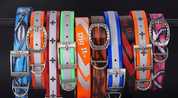 Image of Dig It stinkproof dog collars made from BioThane coated webbing