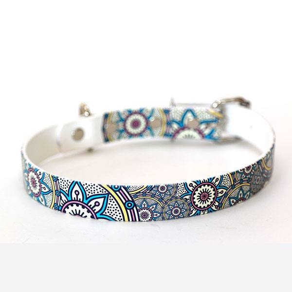 Image of a handmade fashion dog collar from Bahoolie Dog Products